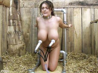 Мужик приковал брюнетку с большими сиськами к трубе на сеновале и доит ее как корову