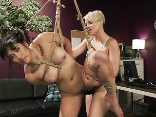 Зрелая блондинка вставляет страпон в вагину связанной брюнетке и жестко трахает ее