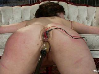 Жесткий электросекс и бдсм замечательно удовлетворил лесбиянку Lorelei Lee