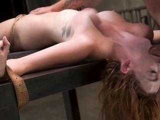 Рабыня с вибратором в письке терпит насилие в bdsm сексе